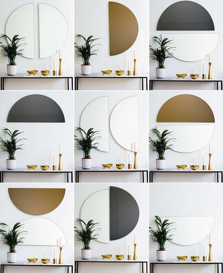 Bronzed Modern Bronze Tinted Mirror Orbis Half Circular Small Wall Mirror Frameless For Sale