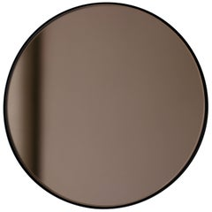 Modern Art Deco Bronze Tinted Orbis™ Round Oversized Mirror with Black Frame