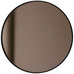 Modern Bronze Color Tinted Orbis™ Circular Shaped Mirror Black Frame Handcrafted