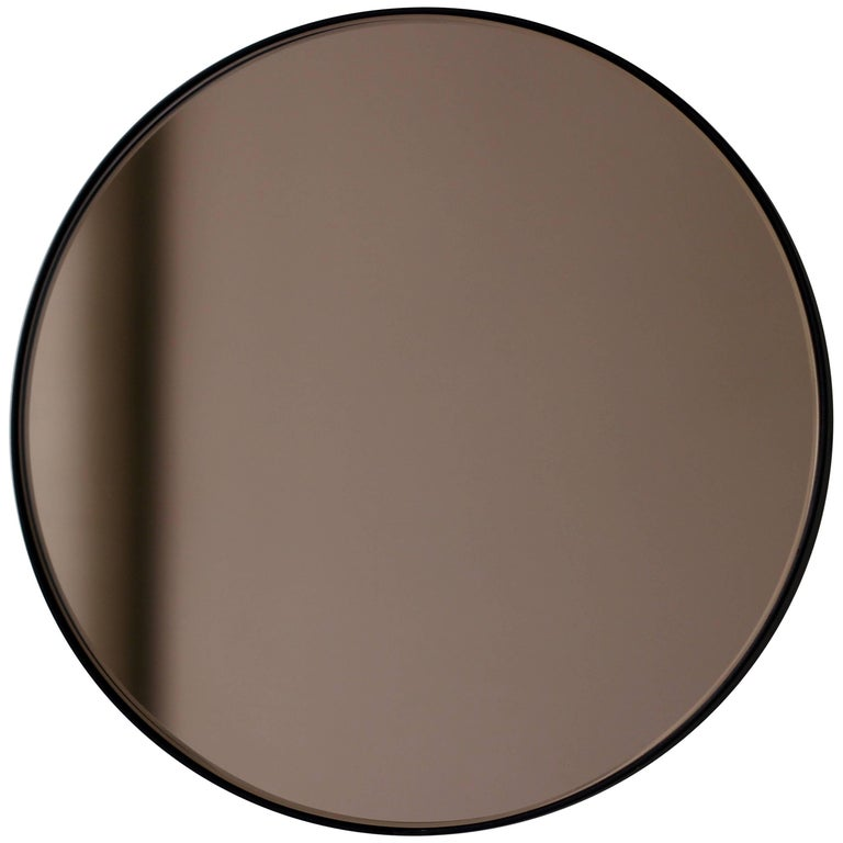 Bronze Tinted Orbis Round Mirror With Black Frame Dia 50cm 19 7