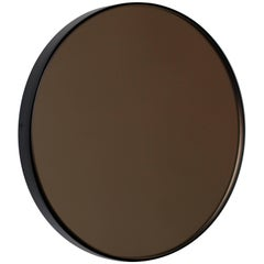 Orbis™ Bronze Tinted Modernist Round Mirror w Black Frame Customizable, Medium