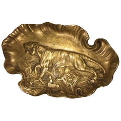Bronze Tray or Vide-Poche, with Embossed Tiger, Signed and Dated