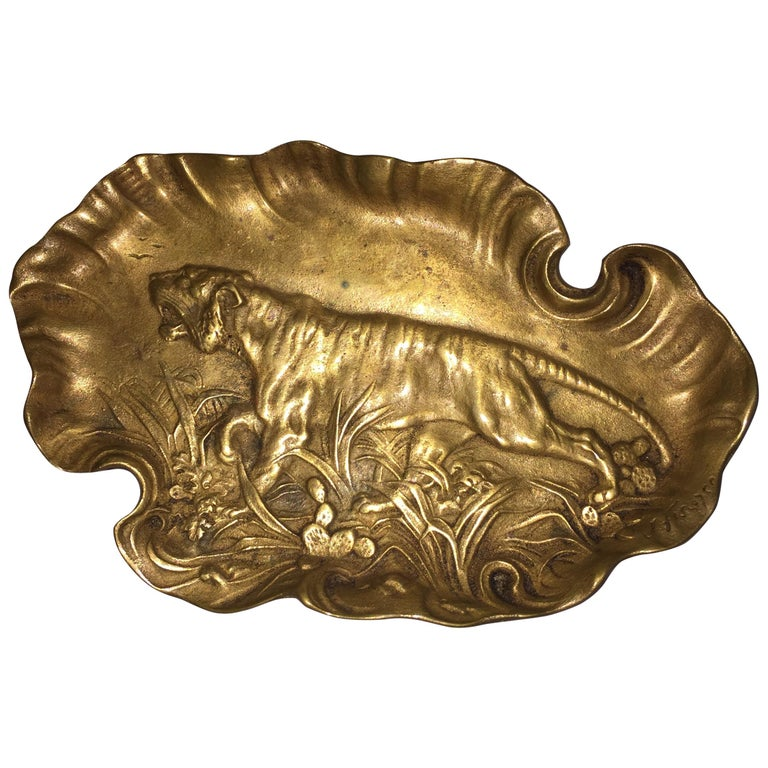 Bronze Tray or Vide-Poche, with Embossed Tiger, Signed and Dated For Sale