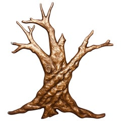 Brutalist Bronze Tree Mid Century Wall Sculpture