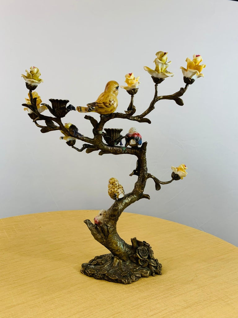 Bronze Tree with Birds and Flowers Candleholder or Candelabra, a Pair For Sale 4