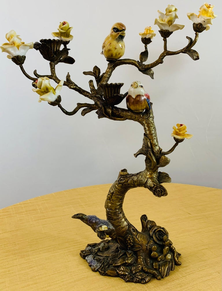 Bronze Tree with Birds and Flowers Candleholder or Candelabra, a Pair For Sale 5