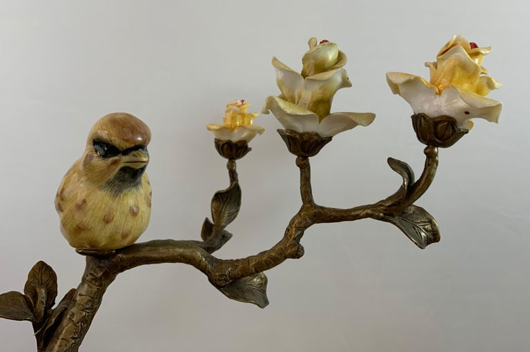 Bronze Tree with Birds and Flowers Candleholder or Candelabra, a Pair For Sale 6