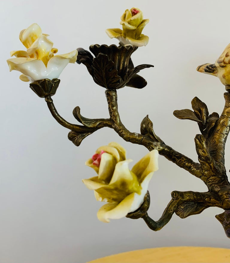 Bronze Tree with Birds and Flowers Candleholder or Candelabra, a Pair For Sale 7