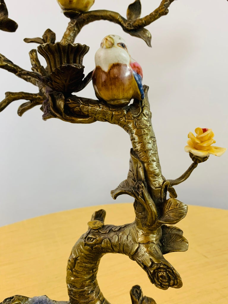 Bronze Tree with Birds and Flowers Candleholder or Candelabra, a Pair For Sale 8