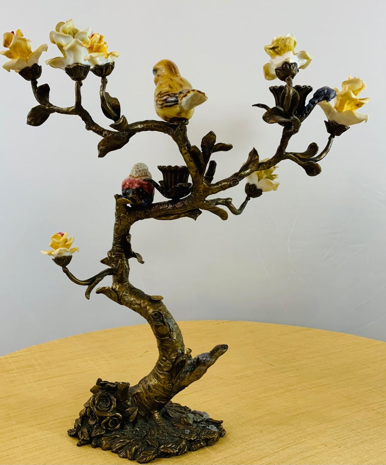 Bronze Tree with Birds and Flowers Candleholder or Candelabra, a Pair For Sale 11
