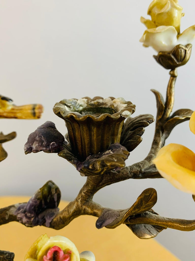 American Bronze Tree with Birds and Flowers Candleholder or Candelabra, a Pair For Sale