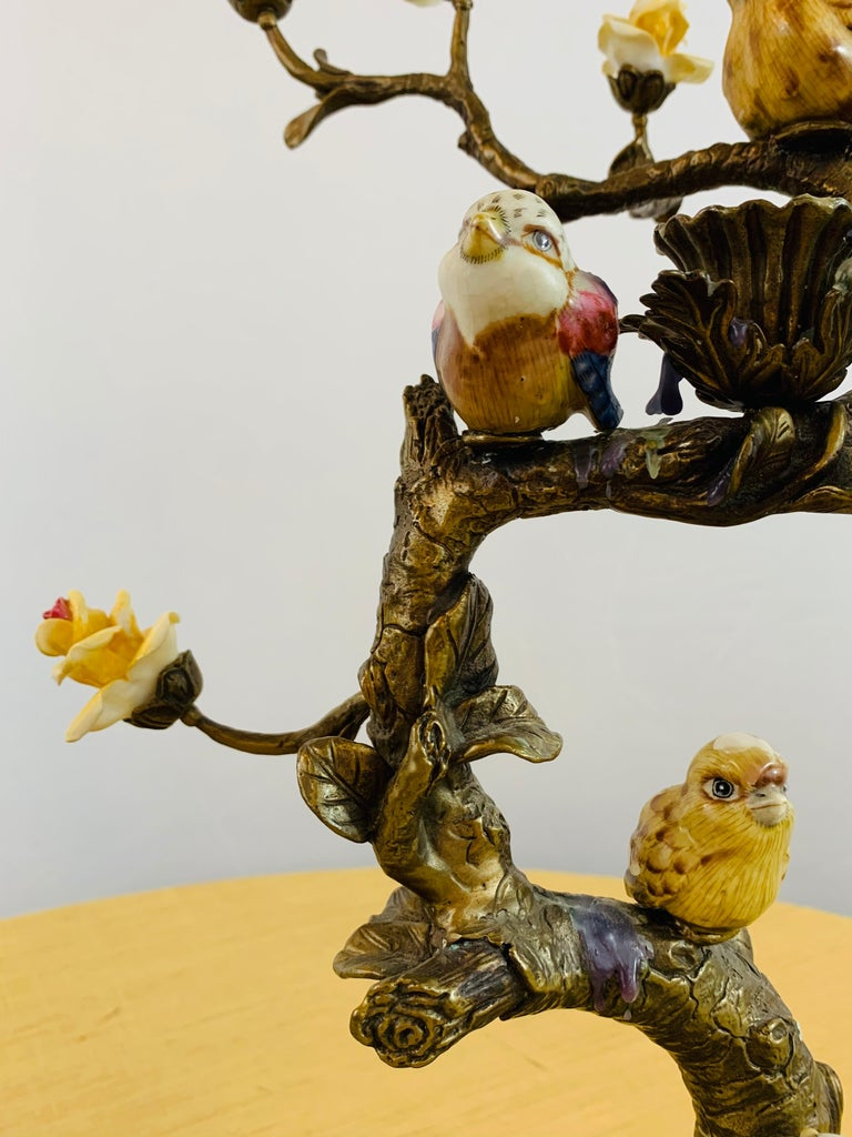 Bronze Tree with Birds and Flowers Candleholder or Candelabra, a Pair For Sale 1