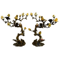 Bronze Tree with Birds and Flowers Candleholder or Candelabra, a Pair