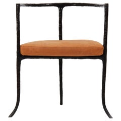 Bronze Twig Armchair in Cast Bronze with Leather Seat Cushion by Elan Atelier