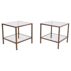 Bronze Two Tier Square Side Tables, 1970s