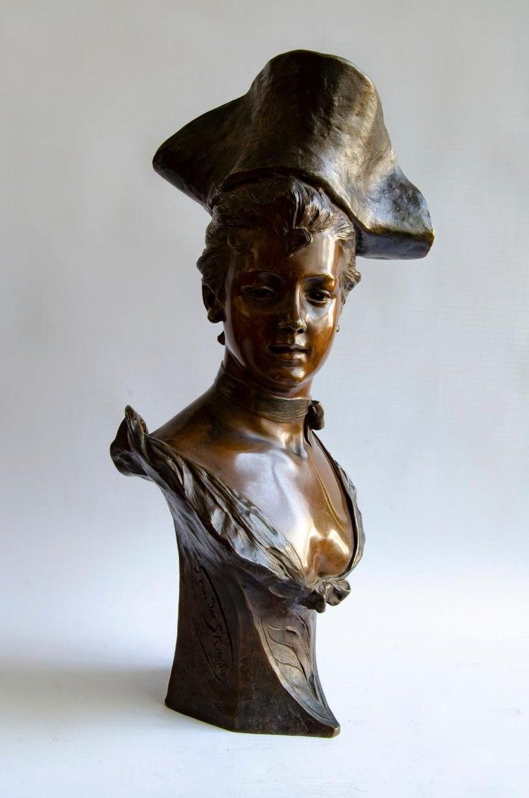 Bronze Vander Straten Art Nouveau bust Paris Bronze Society foundry, circa 1900 origin France Art nouveau perfect condition.