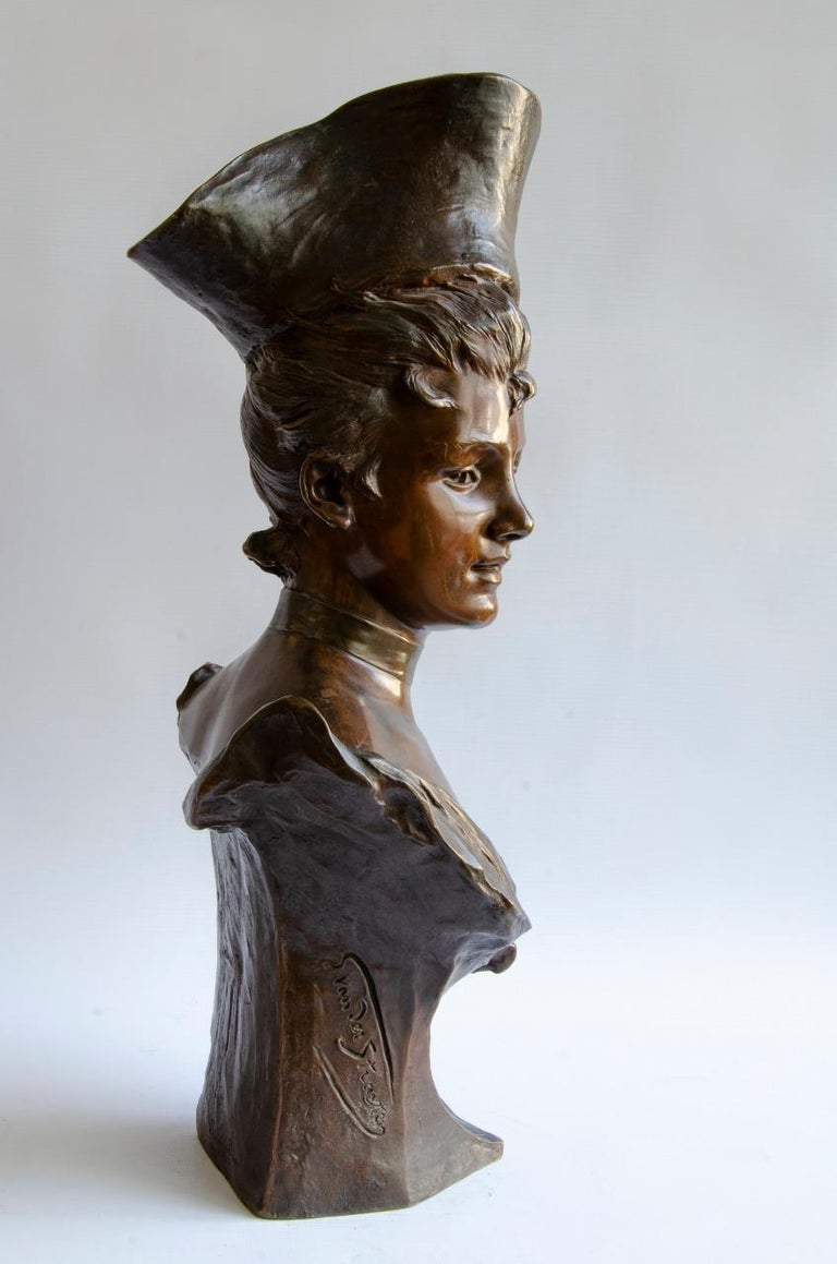 French Bronze Vander Straten Art Nouveau Bust For Sale