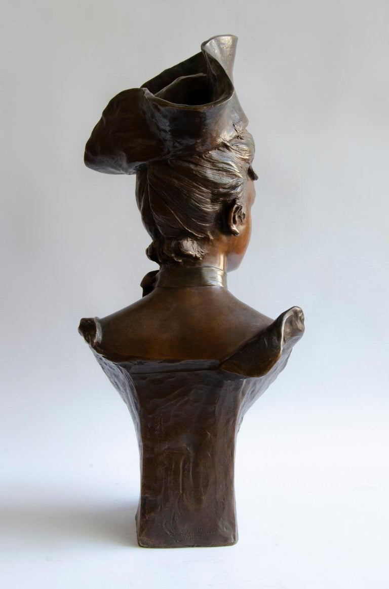 Bronze Vander Straten Art Nouveau Bust In Good Condition For Sale In Buenos Aires, Argentina