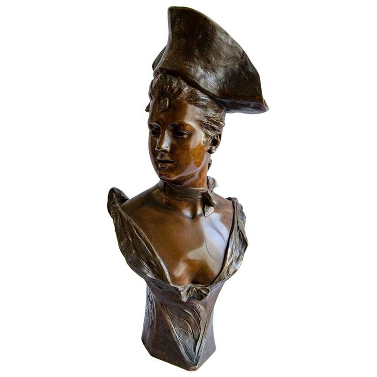 Bronze Vander Straten Art Nouveau Bust For Sale