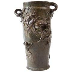 Bronze Vase, Art Nouveau, Signed by Joseph Cheret