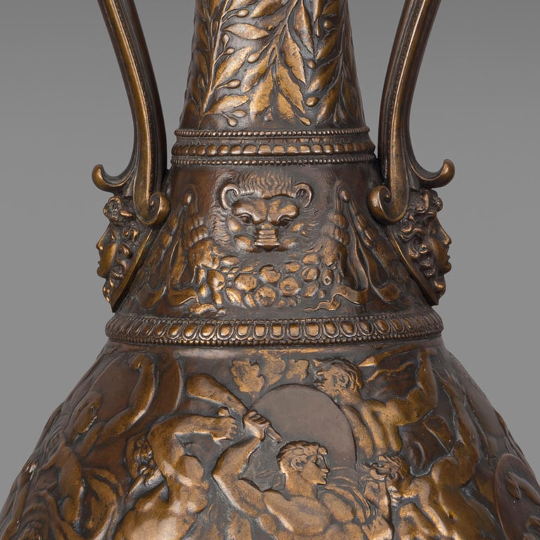 Patinated Bronze Vases by Ferdinand Levillain and Ferdinand Barbedienne, French, 1880 For Sale