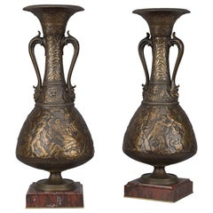 Bronze Vases by Ferdinand Levillain and Ferdinand Barbedienne, French, 1880