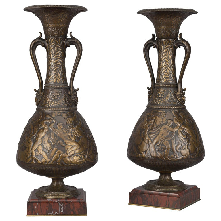 Bronze Vases by Ferdinand Levillain and Ferdinand Barbedienne, French, 1880 For Sale