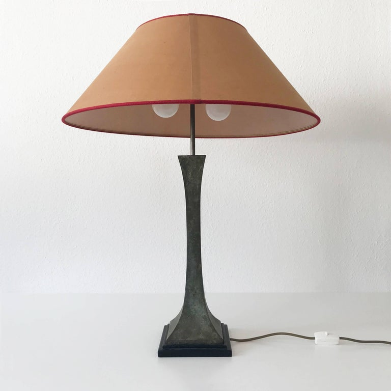 Wood Bronze Verdigris Table Lamp by Stewart Ross James for Hansen Lighting, NY, 1960s For Sale