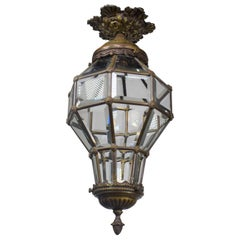"Bronze ""Versailles"" Lantern with Beveled Glass Panels"