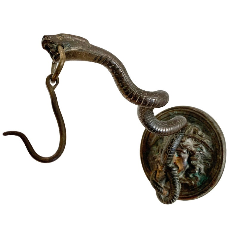 Bronze Wall Mounted Hook of Medusa and Serpent in the Roman Style For Sale