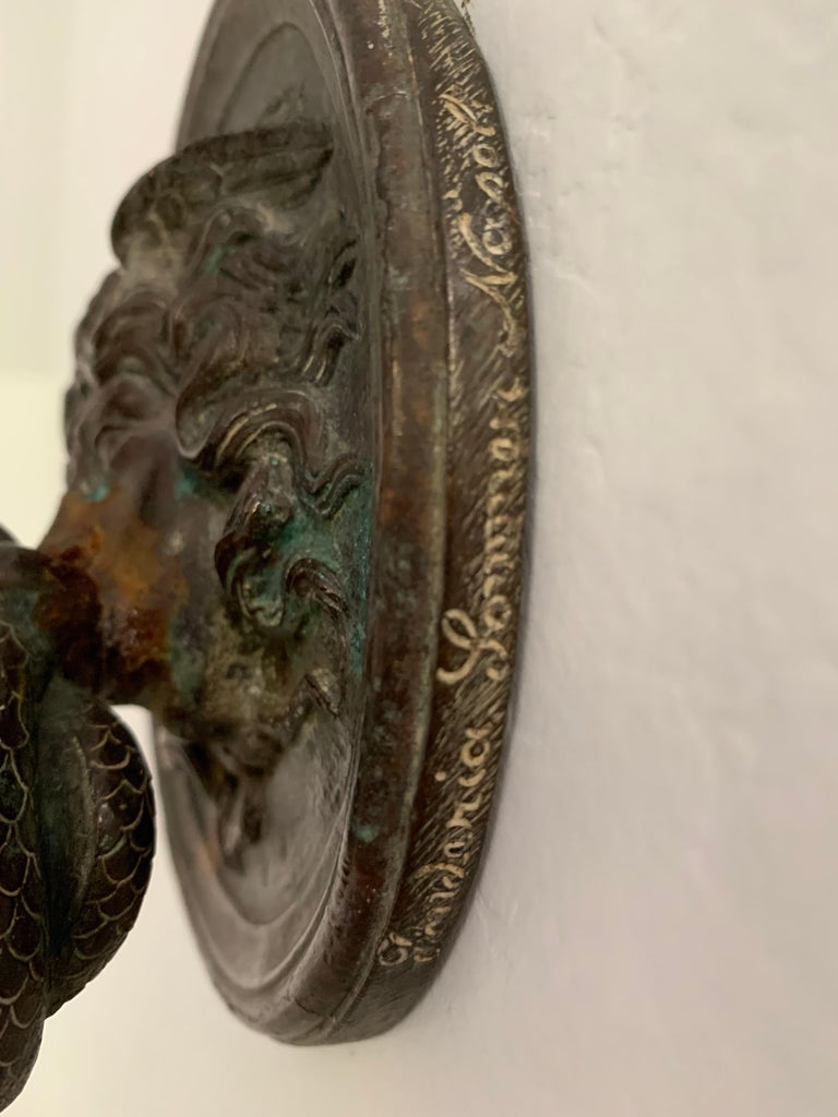 Bronze Wall Mounted Hook of Medusa and Serpent in the Roman Style For Sale 4