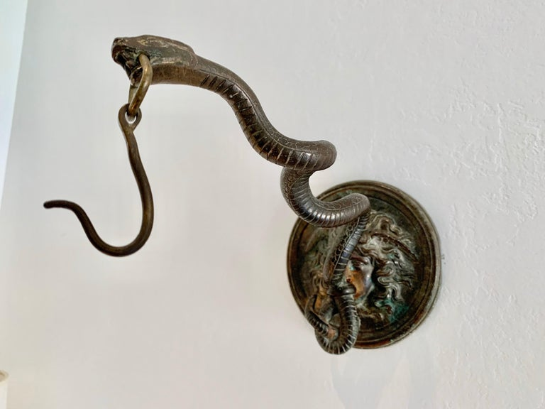 Mid-20th Century Bronze Wall Mounted Hook of Medusa and Serpent in the Roman Style For Sale