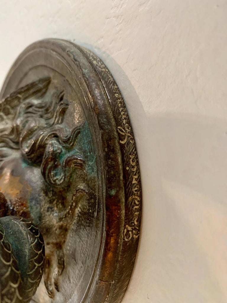 Bronze Wall Mounted Hook of Medusa and Serpent in the Roman Style For Sale 1