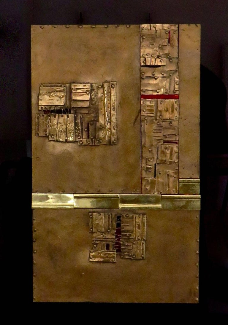 Italian artist Esa Fedrigolli signed, dated and numbered bronze, copper and enamel wall sculpture/paintings. Each sculpture/painting is composed of a veritable bronze composition of small squares, rectangles and other forms with a visual stitched