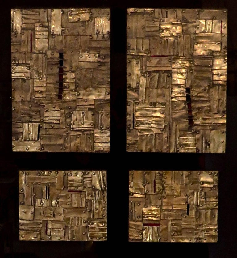Italian artist Esa Fedrigolli signed, dated and numbered bronze, copper and enamel wall sculpture/paintings. The sculpture/painting is composed of a veritable bronze composition of small squares, rectangles and other forms with a visual stitched