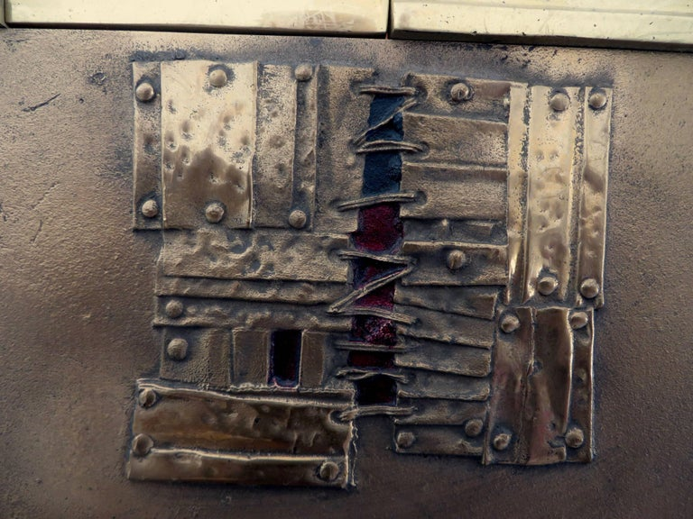 Brutalist Bronze Wall Painting Sculptures by Esa Fedrigolli Italy 1985 Signed Numbered For Sale