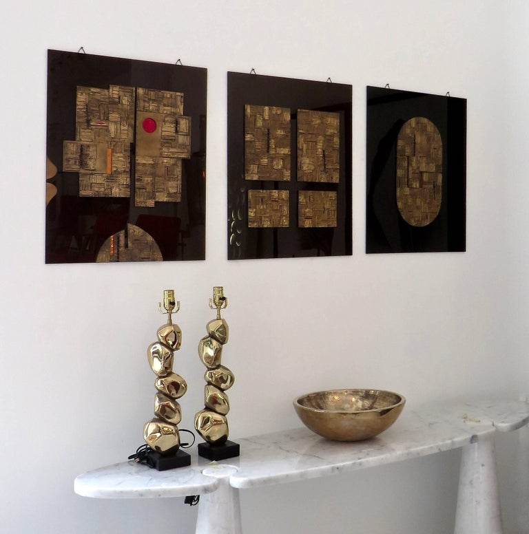Late 20th Century Bronze Wall Painting Sculptures by Esa Fedrigolli Italy 1985 Signed Numbered For Sale