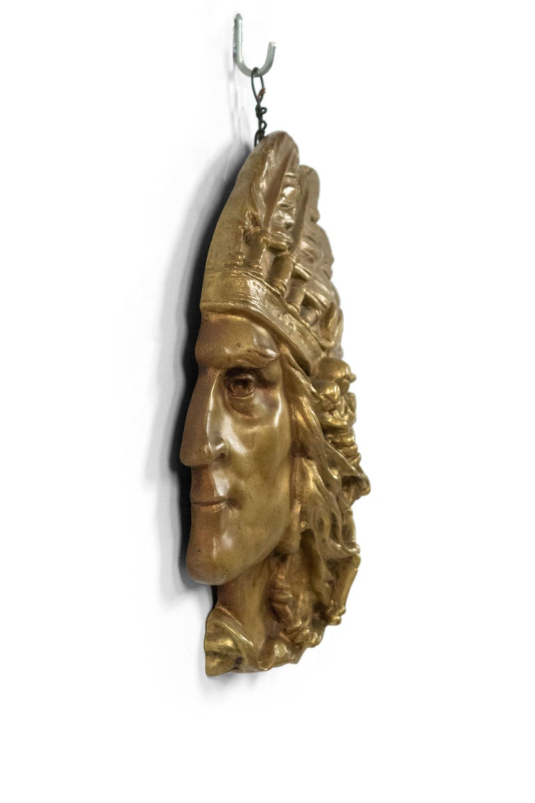 American Bronze Wall Plaque of Indian Head in Profile 'First Quarter of the 20th Century' For Sale