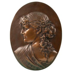 Bronze Wall Plate from 1881 Made by Léopold Harzé
