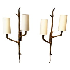 Bronze Wall Sconces by Maison Arlus, 1950s