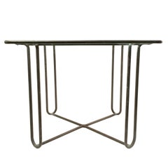 Bronze Walter Lamb Dining Table with Original Glass Top