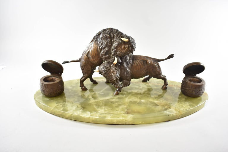 Bronze Western Fighting Buffalo Inkwell Green Onyx Base For Sale 3