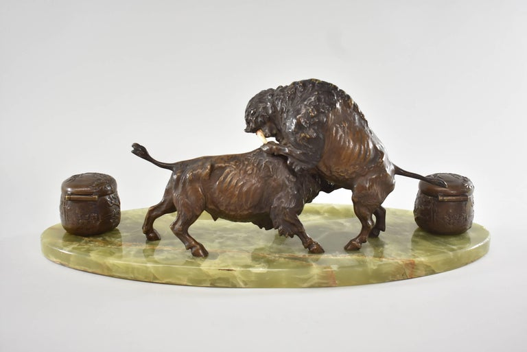 North American Bronze Western Fighting Buffalo Inkwell Green Onyx Base For Sale