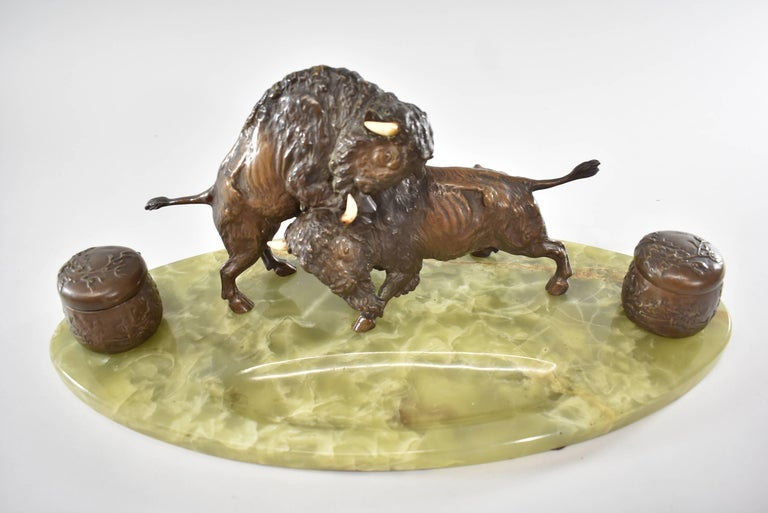 Cast Bronze Western Fighting Buffalo Inkwell Green Onyx Base For Sale