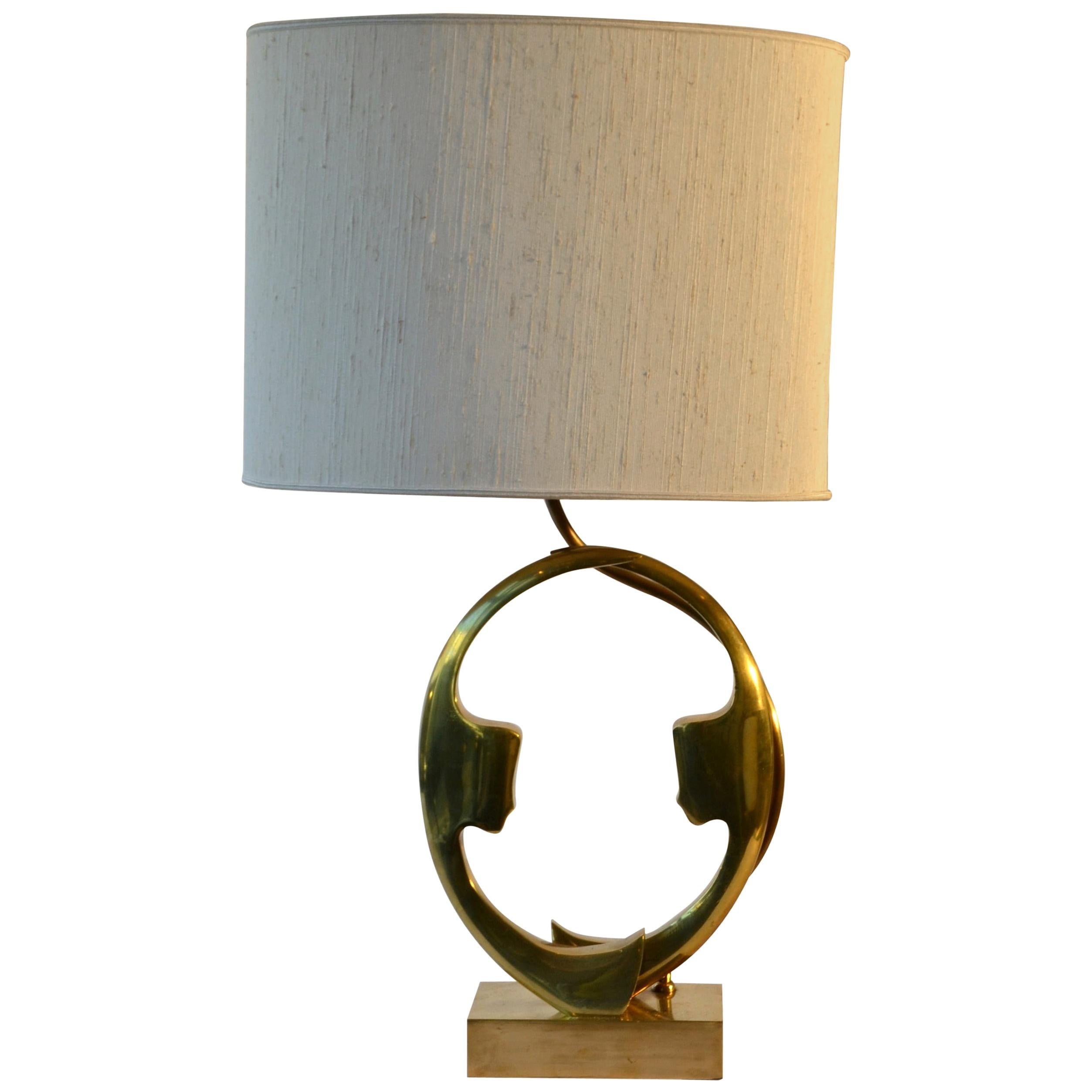 Bronze Willy Daro Table Lamp with Silhouette Faces 1970s Belgium