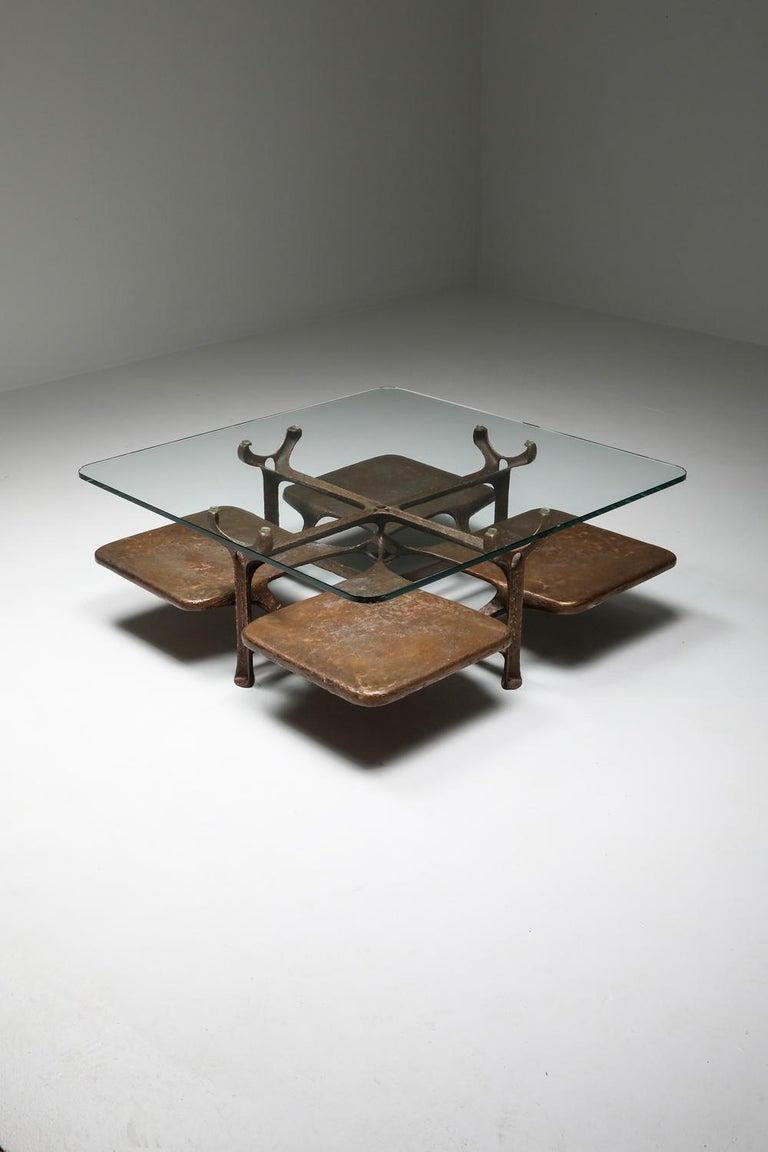 Bronze Wishbone Coffee Table Monogrammed AH For Sale 7