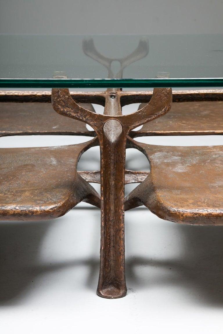 Bronze Wishbone Coffee Table Monogrammed AH For Sale 8