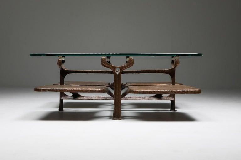 Hollywood Regency Bronze Wishbone Coffee Table Monogrammed AH For Sale