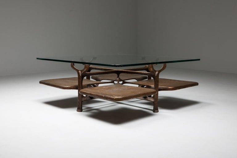 Bronze Wishbone Coffee Table Monogrammed AH In Excellent Condition For Sale In Antwerp, BE