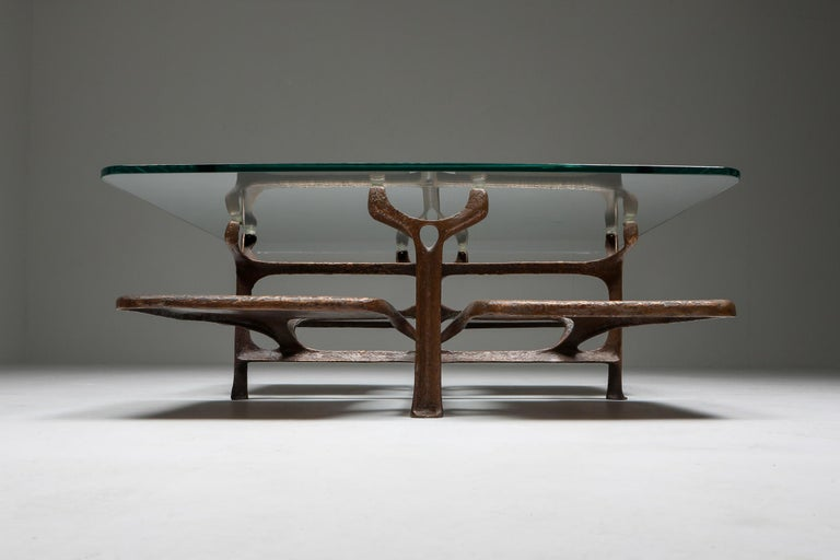 Late 20th Century Bronze Wishbone Coffee Table Monogrammed AH For Sale